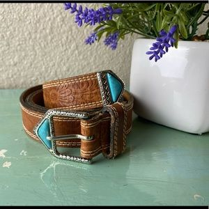 Accessories - Leather Brown blue Store belt
